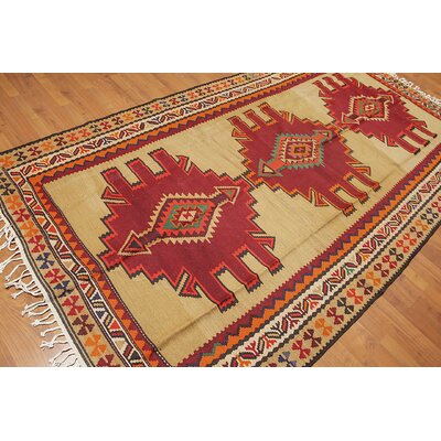 Pettus One-of-a-Kind Kilim Traditional Oriental Hand-Woven Wool Light Gold Area Rug