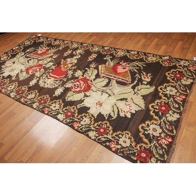 Galiena One-of-a-Kind Kilim Traditional Oriental Hand-Woven Wool Chocolate Brown Area Rug
