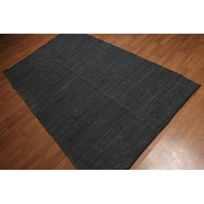 Mckinzie One-of-a-Kind Flat Pile Reversible Modern Oriental Hand-Knotted Black Area Rug
