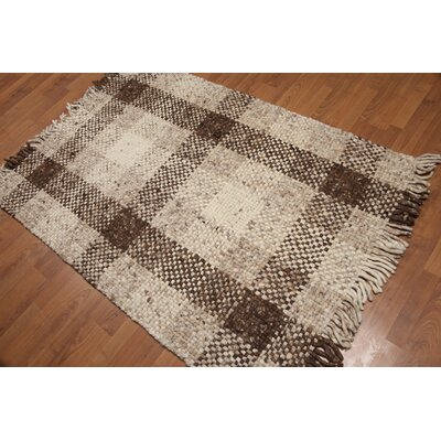 Balis One-of-a-Kind Reversible Pile Modern Oriental Hand-Woven Wool Ivory Area Rug