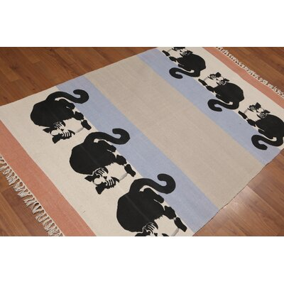 Obaseki One-of-a-Kind Printed Modern Oriental Hand-Woven Cotton Beige Area Rug