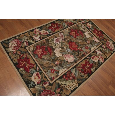Gilberta One-of-a-Kind Needlepoint Aubusson Modern Oriental Hand-Woven Wool Brown Area Rug