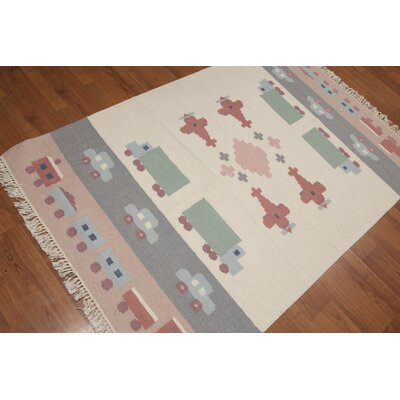Quackenbush One-of-a-Kind Reversible Modern Oriental Hand-Woven Wool Ivory Area Rug