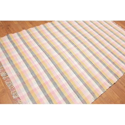 Plouffe One-of-a-Kind Dhurry Modern Oriental Hand-Woven Cotton Pale Pink Area Rug