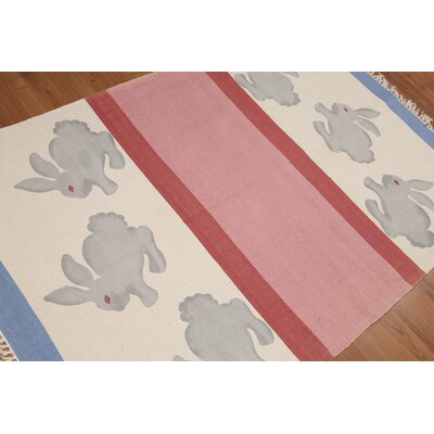 Killough One-of-a-Kind Printed Modern Oriental Hand-Woven Cotton Beige Area Rug