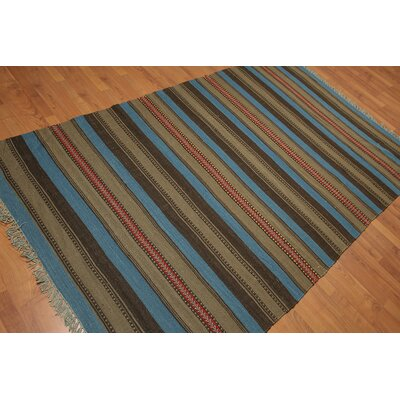 Wasser One-of-a-Kind Reversible Modern Oriental Hand-Woven Wool Indigo Blue Area Rug