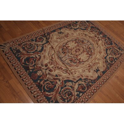 Giorgio One-of-a-Kind Needlepoint Traditional Oriental Hand-Woven Wool Tan Area Rug