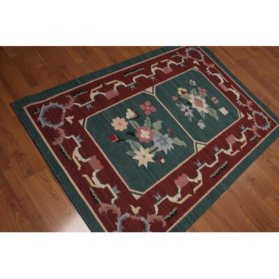 Gisella One-of-a-Kind Reversible Traditional Oriental Hand-Knotted Wool Green Area Rug