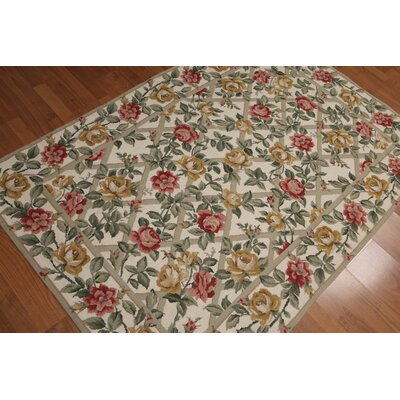 Giselle One-of-a-Kind Needlepoint Aubusson Traditional Oriental Hand-Woven Wool Ivory Area Rug