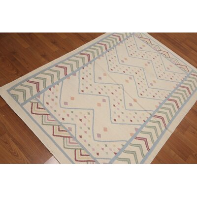 Quade One-of-a-Kind Dhurry Kilim Reversible Modern Oriental Hand-Woven Wool Ivory Area Rug