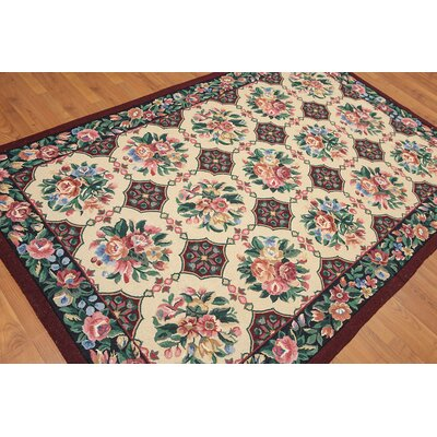 Garey One-of-a-Kind Traditional Oriental Hand-Woven Wool Beige Area Rug