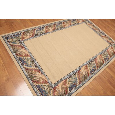 Garin One-of-a-Kind Transitional Oriental Hand-Woven Wool Tan Area Rug