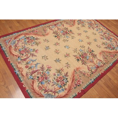 Garion One-of-a-Kind Traditional Oriental Hand-Knotted Wool Tan Area Rug