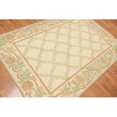 Garlan One-of-a-Kind Needlepoint Modern Oriental Hand-Woven Wool Warm beige Area Rug