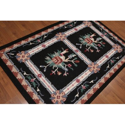 Giuditta One-of-a-Kind Reversible Traditional Oriental Hand-Knotted Wool Midnight Blue Area Rug
