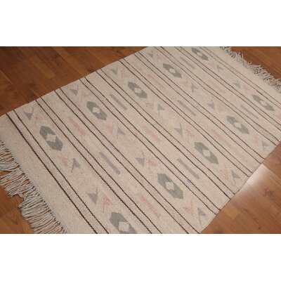 Qualls One-of-a-Kind Dhurry Kilim Reversible Oriental Hand-Woven Wool Beige Area Rug