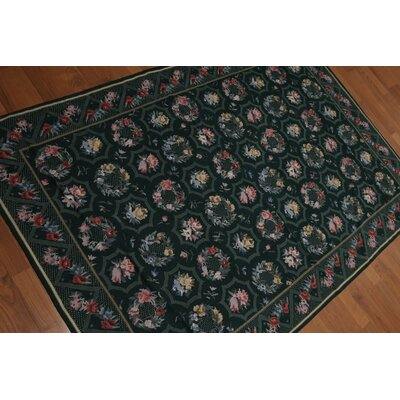 Gottfried One-of-a-Kind Needlepoint Aubusson Traditional Oriental Hand-Woven Wool Green Area Rug