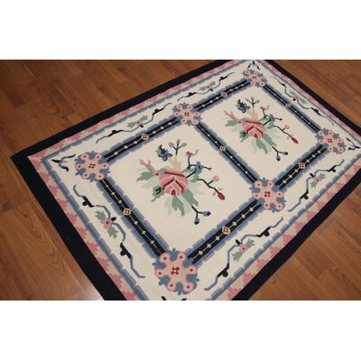 Goel One-of-a-Kind Dhurry Kilim Reversible Traditional Oriental Hand-Woven Wool Ivory Area Rug