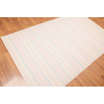 Donegal One-of-a-Kind Modern Oriental Hand-Woven Cotton Pink Area Rug