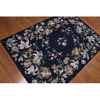 Giuliano One-of-a-Kind Needlepoint Aubusson Traditional Oriental Hand-Woven Wool Navy Blue Area Rug