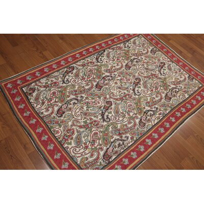 Granat One-of-a-Kind Chain Paisley Traditional Oriental Hand-Woven Wool Beige Area Rug