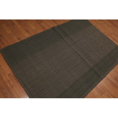 Quan One-of-a-Kind Reversible Modern Oriental Hand-Knotted Olive Area Rug