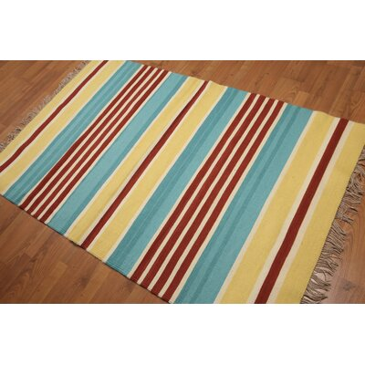 Solberg One-of-a-Kind Dhurry Kilim Reversible Modern Oriental Hand-Woven Wool Yellow Area Rug