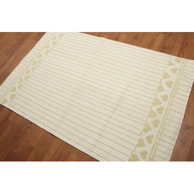 Gofried One-of-a-Kind Dhurry Reversible Modern Oriental Hand-Woven Wool Ivory Area Rug