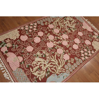 Greggs One-of-a-Kind Needlepoint Traditional Oriental Hand-Woven Wool Rust Area Rug