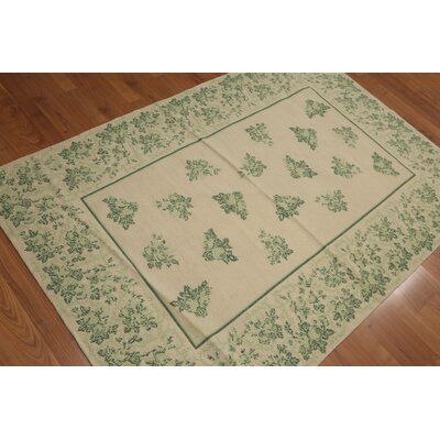 Goodson One-of-a-Kind Needlepoint Traditional Oriental Hand-Woven Wool Light Peach Area Rug
