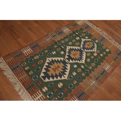 Bismarck One-of-a-Kind Dhurry Kilim Reversible Oriental Hand-Woven Wool Green Area Rug