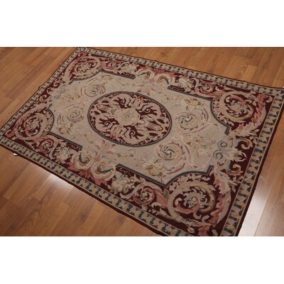 Gotsch One-of-a-Kind Needlepoint Aubusson Traditional Oriental Hand-Woven Wool Tan Area Rug