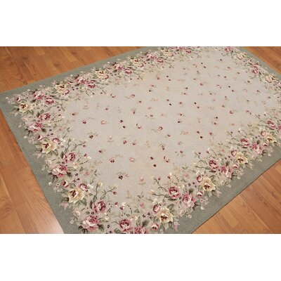 Hicks One-of-a-Kind Transitional Oriental Hand-Knotted Wool Taupe Area Rug