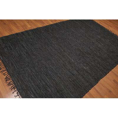 Quintero One-of-a-Kind Modern Oriental Hand-Woven Black Area Rug