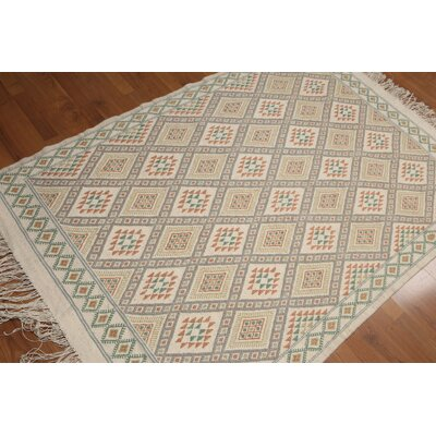 Samito One-of-a-Kind Flat Pile Traditional Oriental Hand-Woven Wool Ivory Area Rug