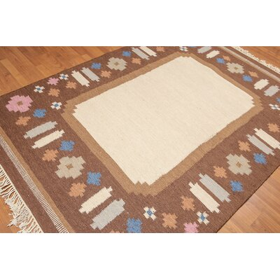 Pewitt One-of-a-Kind Dhurry Modern Oriental Hand-Woven Wool Beige Area Rug