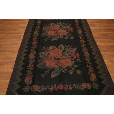 Garnell One-of-a-Kind Kilim Traditional Oriental Hand-Woven Wool Charcoal Area Rug