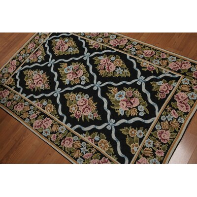 Griselda One-of-a-Kind Needlepoint Aubusson Traditional Oriental Hand-Knotted Wool Black Area Rug