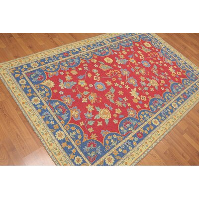 Hilaire One-of-a-Kind Modern Oriental Hand-Knotted Wool Crimson Red Area Rug