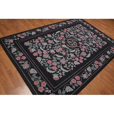Honore One-of-a-Kind Modern Oriental Hand-Knotted Wool Black Area Rug