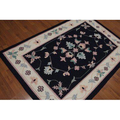 Grisella One-of-a-Kind Dhurry Kilim Reversible Oriental Hand-Woven Wool Midnight Blue Area Rug