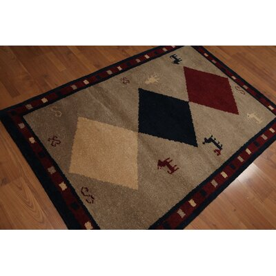 Quevedo One-of-a-Kind Gabbeh Pile Traditional Oriental Hand-Knotted Wool Camel Area Rug