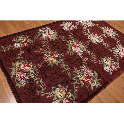 Garon One-of-a-Kind Traditional Oriental Hand-Knotted Wool Maroon Area Rug