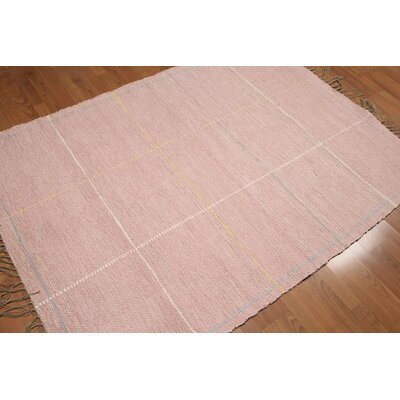 Quigley Flat Pile Modern Oriental Cotton Pink Area Rug