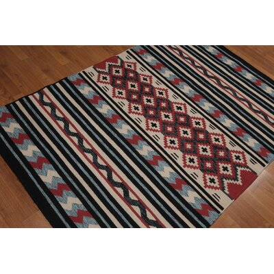 Quijada One-of-a-Kind Modern Oriental Hand-Woven Wool Blue Area Rug