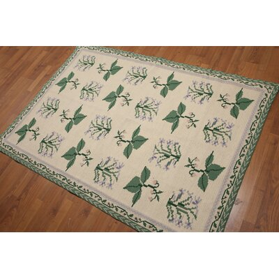 Bartnik One-of-a-Kind Needlepoint Aubusson Oriental Hand-Woven Wool Beige Area Rug