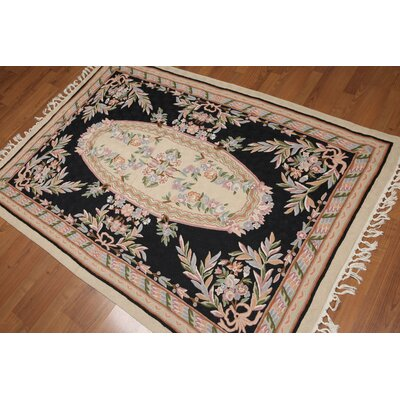 Griswald One-of-a-Kind Needlepoint Traditional Oriental Hand-Woven Wool Black Area Rug
