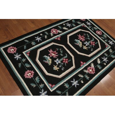 Griswalda One-of-a-Kind Dhurry Kilim Reversible Traditional Oriental Hand-Woven Wool Black Area Rug