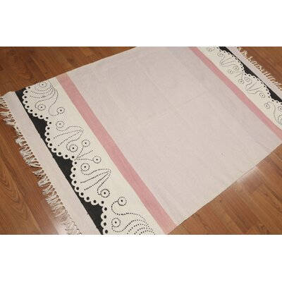Hacking One-of-a-Kind Dhurry Kilim Reversible Modern Oriental Hand-Woven Cotton Pale Pink Area Rug