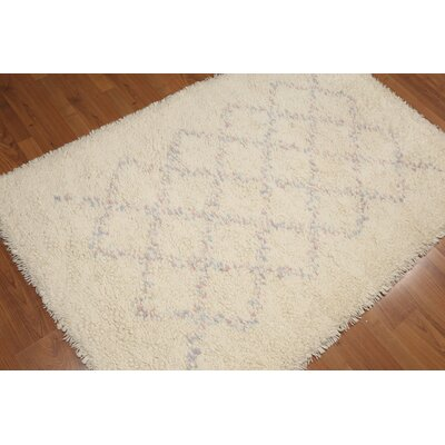 Bernardyn One-of-a-Kind Modern Oriental Hand-Knotted Wool Ivory Area Rug